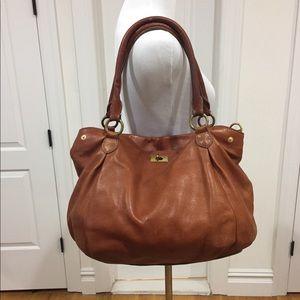 J Crew tan leather shoulder bag